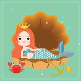 Cute little mermaid with sea animals. Under the sea in cartoon style. Vector illustration stock illustration