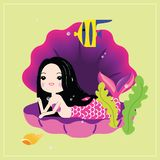 Cute little mermaid with sea animals. Under the sea in cartoon style. Vector illustration vector illustration