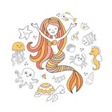 Cute little mermaid and sea animals. Under the sea vector illustration Royalty Free Stock Photos