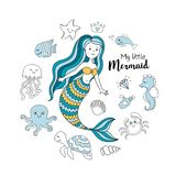 Cute little mermaid with sea animals. Under the sea vector illustration. My little mermaid Royalty Free Stock Photos