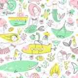 Cute little mermaid seamless pattern. Believe in miracle. Textur. Ed illustration. Scandinavian style. Undersea world stock illustration