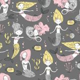 Cute little mermaid seamless pattern. Believe in miracle. Textur. Ed illustration. Scandinavian style. Mermaids, corals and fishes stock illustration