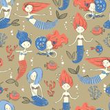 Cute little mermaid seamless pattern. Believe in miracle. Textur. Ed illustration. Scandinavian style. Mermaids, corals and fishes vector illustration