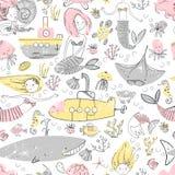 Cute little mermaid seamless pattern. Believe in miracle. Textur. Ed illustration. Scandinavian style. Undersea world vector illustration