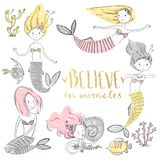 Cute little mermaid set. Believe in miracle. Textured vector ill. Ustration. Scandinavian style. Mermaids, corals and fishes vector illustration