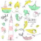 Cute little mermaid set. Believe in miracle. Textured vector ill. Ustration. Scandinavian style. Mermaids, corals and fishes. Vector illustration stock illustration