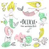 Cute little mermaid set. Believe in miracle. Textured vector ill. Ustration. Scandinavian style. Mermaids, corals and fishes royalty free illustration
