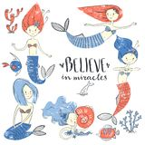 Cute little mermaid set. Believe in miracle. Textured vector ill. Ustration. Scandinavian style. Mermaids, corals and fishes stock illustration