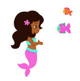 Cute little mermaid and two cute fish. Royalty Free Stock Photo