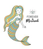 Cute little mermaid. Under the sea vector illustration. Forever a mermaid Royalty Free Stock Photography