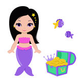 Cute little mermaid.Vector illustration. Royalty Free Stock Photography