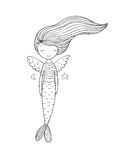 Cute little mermaid with wings. Siren. Sea theme. royalty free illustration
