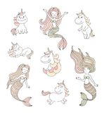 Cute little mermaids and magical unicorns vector set Royalty Free Stock Images
