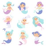 Cute Little Mermaids Set, Lovely Fairytale Girl Princess Mermaid Characters Vector Illustration. On White Background stock illustration