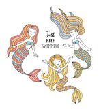 Cute little mermaids. Under the sea vector illustration. Just keep swimming Royalty Free Stock Images