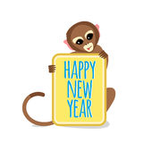 Cute Little Monkey with Happy New Year Card. 2016 Chinese New Year Symbol. Flat Vector Illustration Stock Image