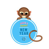 Cute Little Monkey with New Year Wishes Card Stock Images