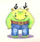 Cute little monster in the jeans Bootcut. Stock Images