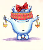 Cute little monster in the role of Themis. Royalty Free Stock Photography