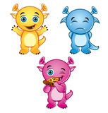 3 cute little monsters. Illustration of 3 cute, colorful, little monsters Royalty Free Stock Photography