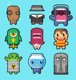 Cute little monsters illustrations. Cartoon Royalty Free Stock Photo