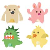 Cute Little Monsters Isolated vector illustration