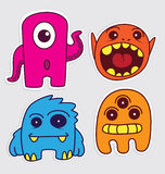 Cute little monsters sticker v1 Royalty Free Stock Image
