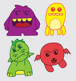Cute little monsters sticker v2. Happy cute little monsters sticker that you can use in any purposes Stock Images