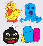 Cute little monsters sticker v3. Happy cute little monsters sticker that you can use in any purposes Royalty Free Stock Photography