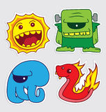 Cute little monsters sticker v5. Happy cute little monsters sticker that you can use in any purposes Stock Photography