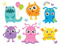 Cute Little Monsters Vector Illustration. Furry cute alien character set Royalty Free Stock Images