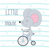 Cute little mouse riding a bicycle cartoon hand drawn vector illustration.  stock illustration