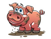 Cute little muddy cartoon pig Royalty Free Stock Photography