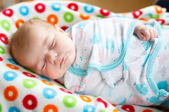 Cute little newborn baby girl sleeping wrapped in blanket Royalty Free Stock Photography
