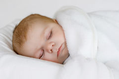 Cute little newborn baby girl sleeping wrapped in blanket Royalty Free Stock Photo
