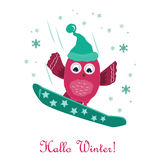 Cute little owl snowboarding on the mountain. Greeting card Stock Photos