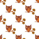 Cute little owls. Seamless pattern stock illustration