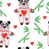 Cute little panda with bamboo and heart seamless pattern. Watercolor animal seamless background Royalty Free Stock Photo