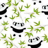 Cute Little Panda with Bamboo Leaves Seamless Stock Image