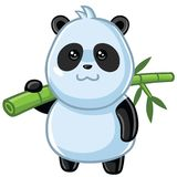 Cute Little Panda Cartoon Vector. Cute Little Panda Carrying Bamboo Cartoon Vector Royalty Free Stock Photos