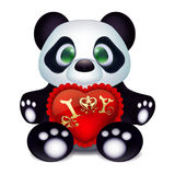 Cute little panda in love with a red velvet pillow gift heart and a declaration of love. Red pillow with lace and inscription. Illustration of white background Royalty Free Stock Image