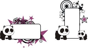 Cute little panda teddy bear baby cartoon copyspace Royalty Free Stock Photos