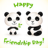 Cute little pandas friends, vector illustration. Cute little pandas friends with bamboo leaves, vector illustration royalty free illustration