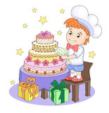 Cute little pastry chef Stock Photo