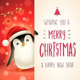 Cute little Penguin with big signboard. Merry Christmas calligraphy lettering design. vector illustration