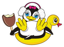 Cute little penguin girl is on vacation. Funny penguin girl hold a bitten ice cream and sitting on the inflated duck royalty free illustration
