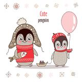 Cute little penguin in warm clothes with fish and baby penguin with balloon. Vector illustration on white background. Childish cartoon design for kid t-shirts Stock Photo
