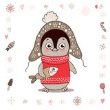 Cute little penguin in warm clothes with fish says Hello. Cute little penguin in warm clothes with fish. Illustration on white background with lovely frame made Royalty Free Stock Image