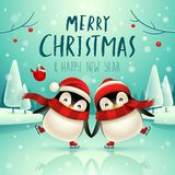 Cute little penguins skate on frozen river in Christmas snow scene. Christmas cute animal cartoon character. Cute little penguins skate on frozen river in royalty free illustration