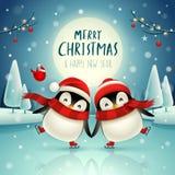 Cute little penguins skate on frozen river under the moonlight in Christmas snow scene. Christmas cute animal cartoon character.  stock illustration